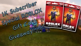 1k Subscriber Special (ROBLOX GIFT-CARD GIVEAWAY IS OVER)