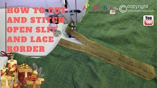 How To Cut And Stitch Open Slit Kurti and lace border attach on neckline