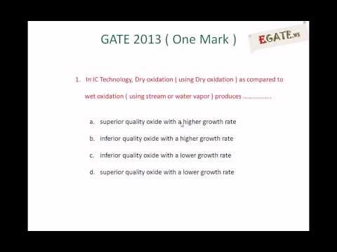 Question on IC Fabrication (Oxidation) - GATE 2013 Solved Paper (Electron Devices)  (www.egate.ws)