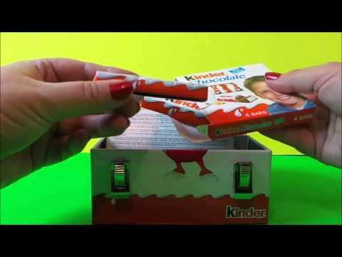 8 x Kinder Surprise Duty Free Metal Lunchbox Opening Review of Chocolate & Candy