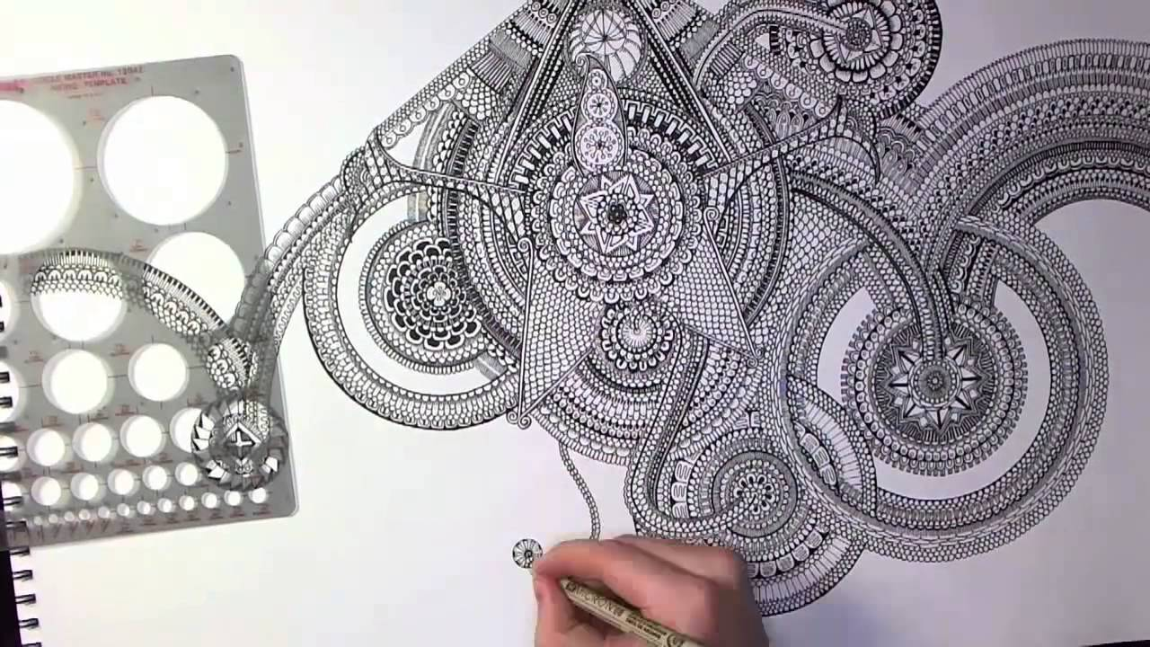 Zentangles Patterns Step By Step Drawing a Huge Mandala...