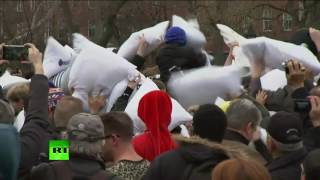 Gentle clashes  Huge urban pillow fight played out in NYC