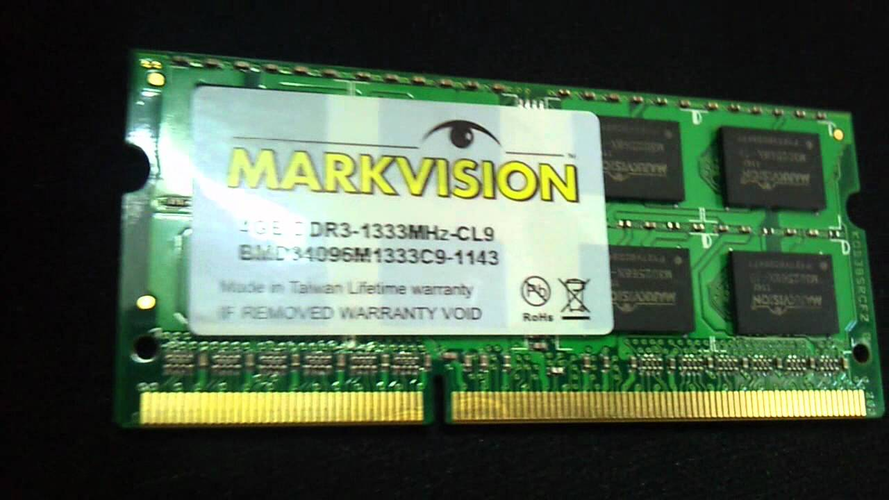 Memoria Ram Ddr3 4gb 1333mhz Markvision Para Notebook Youtube