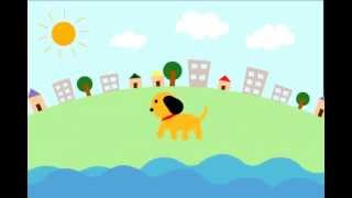 Dog walking by the river animation