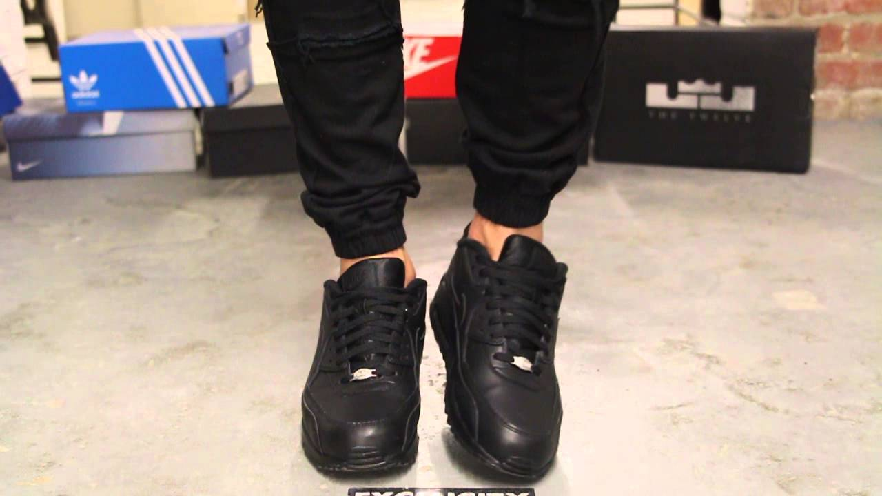 Nike Air Max 90 Leather Black - Black on-feet video at Exclucity - YouTube 0ceda98d6007