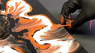 String Pulling THE TIGER!! Fluid Art ~ Pour Painting ~ Wigglz Art! Beginners Jungle Pour 8.99!!