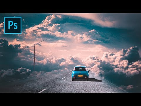 How To Make Background Road Sky Fantasy - Photoshop