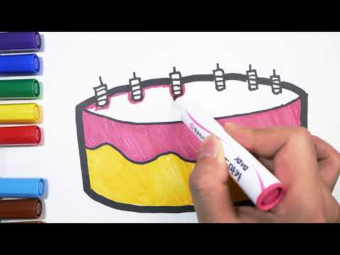 Coloring Birthday Cake #7 l Painting drawing for kid l 생일케잌 색칠하기 l Jelly Art ☆