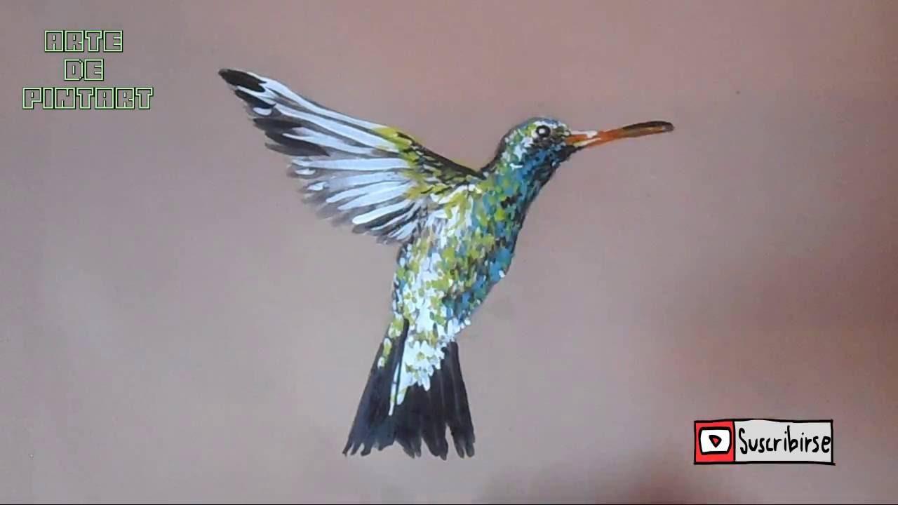 como pintar un colibrí (pintura acrílica) - YouTube