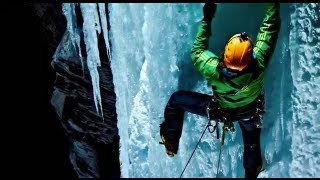 Outdoor sports photography on icefall by Ray Demski  Phase One