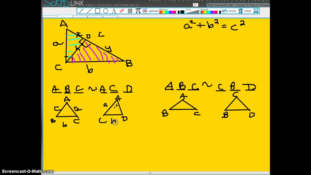 Pythagorean Theorem Proof Using Similar Triangles Youtube
