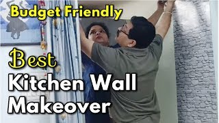 Best Kitchen Wall Decorations Ideas In Low Budget / How To Fix Wallpaper   Monikazz Diy