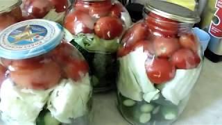 Очень вкусное АССОРТИ на зиму(помидоры,огурцы и капуста)