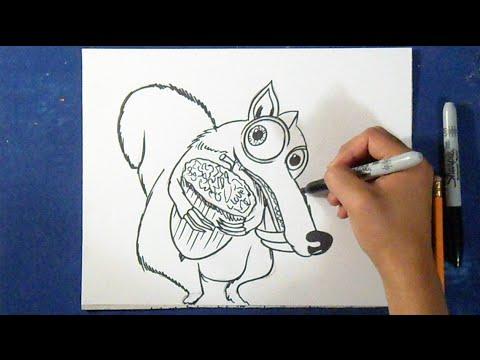 Como desenhar o Scrat - Ice Age (a era do Gelo) - YouTube