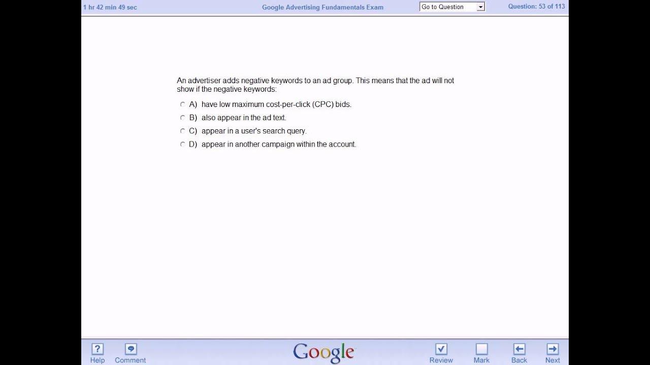 Google adwords certification exam sample questions реклама товара текстовая 50 - 100 слов