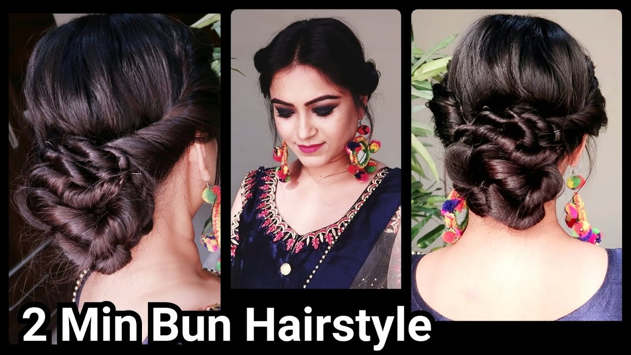 2 min indian bun hairstyle for diwali//easy hairstyles for medium to long hair//party hairstyle