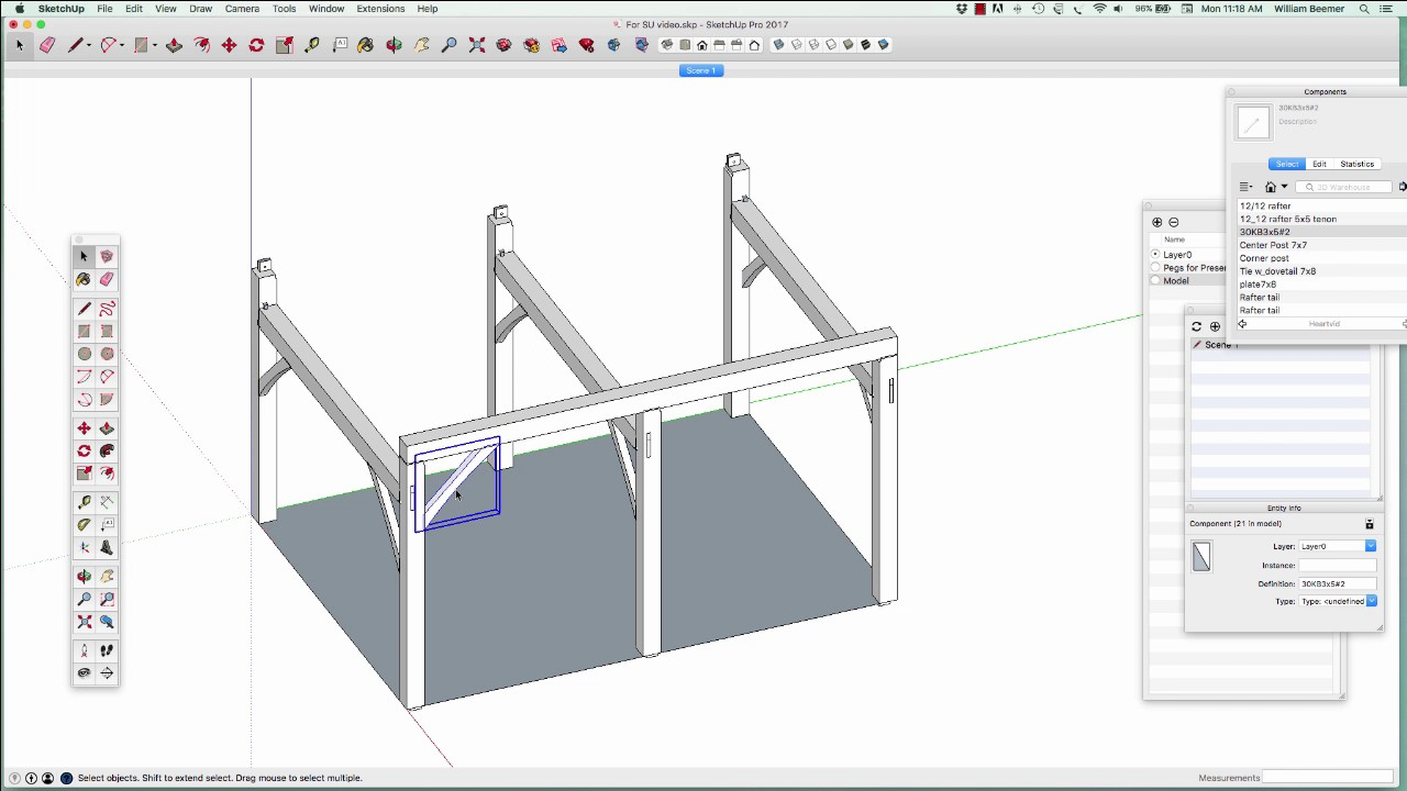 Timber Frame modeling with SketchUp - YouTube