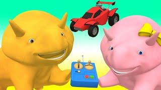Lerne mit Dino - Lerne Zahlen mit ferngesteuerten Autos - Dino dem Dinosaurier 👶 Lehrreiche Cartoon