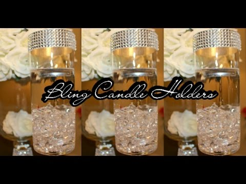 Diy Candle Holder Centerpiece Set Of 2 Bling Wedding