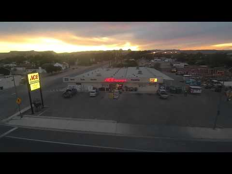 Flyover 2 over Overton Ace Hardware in the evening.