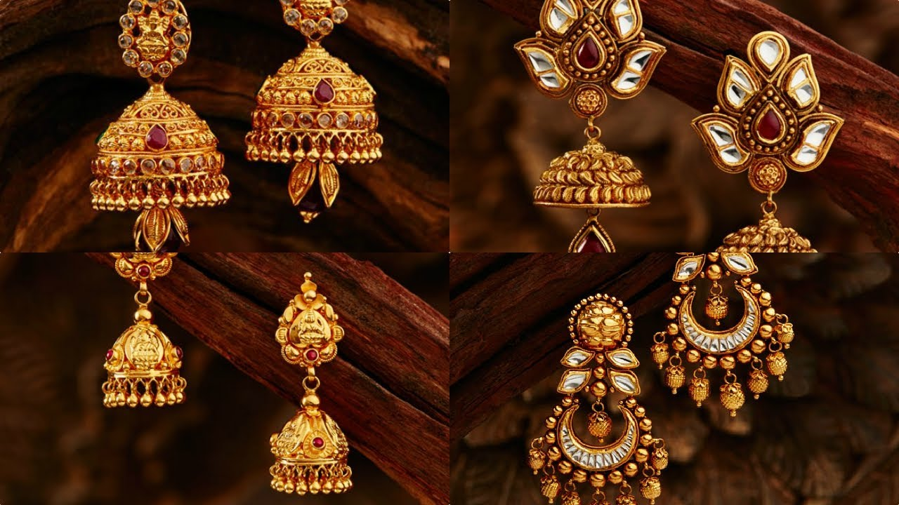 Latest Gold Earrings Designs For Daily Use In Light Weight ✱ Jewellery  Designs