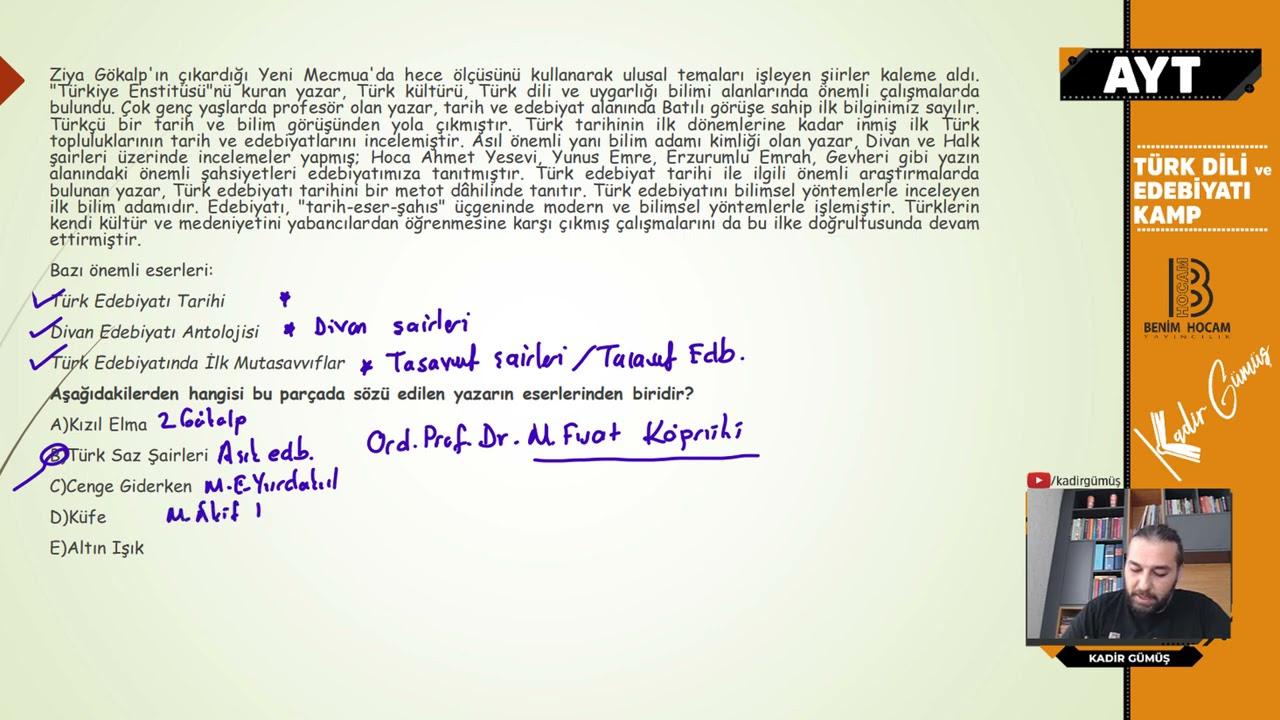 17) AYT Türk Dili Tekrar Kampı - Milli Edebiyat Dönemi Şiir - Kadir GÜMÜŞ