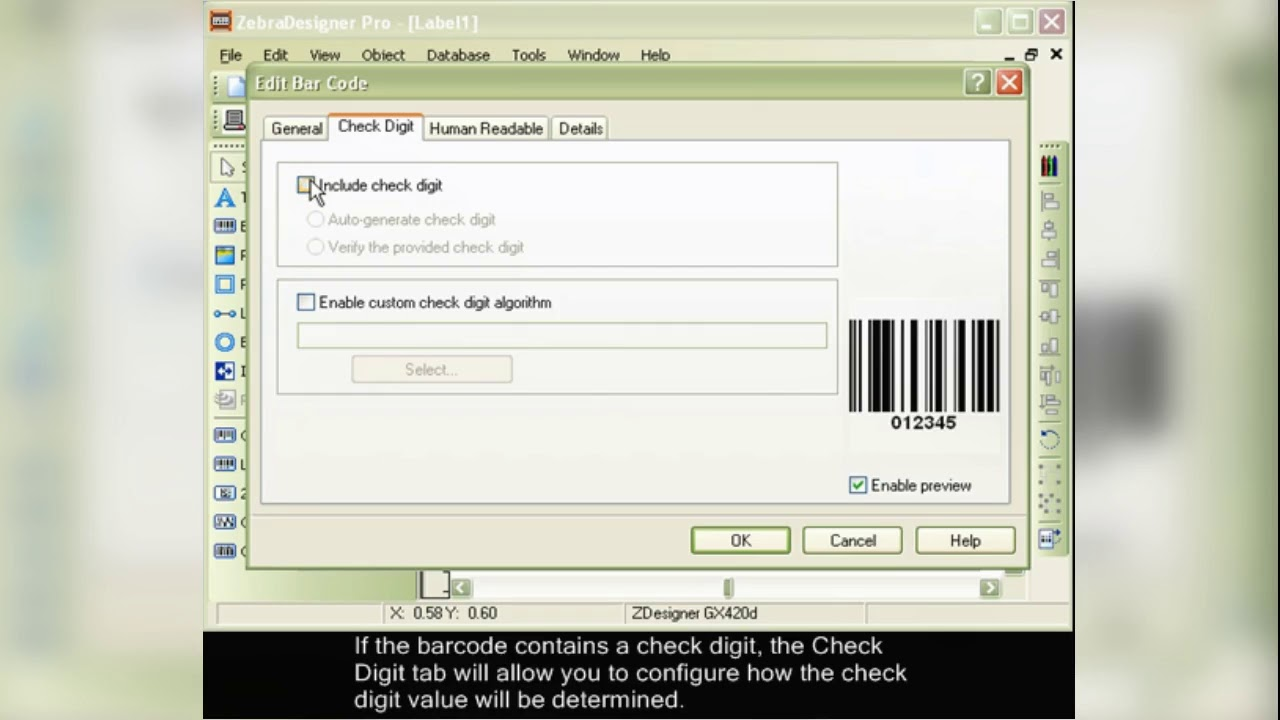 Zebra Designer Software Creating A Barcode With Fixed Data Youtube