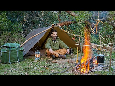 Solo Bushcraft Overnight in the Wilderness-Foraging Wild Food, Cooking over campfire etc