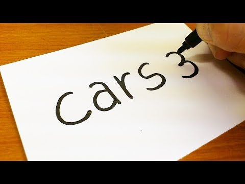 How to turn words Cars 3(Lightning McQueen) into a Cartoon for kids -  Drawing doodle art on paper