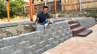 como hacer MURO RETENEDOR CON BLOQUES /  MAKING RETAINING  WALL BLOCKS