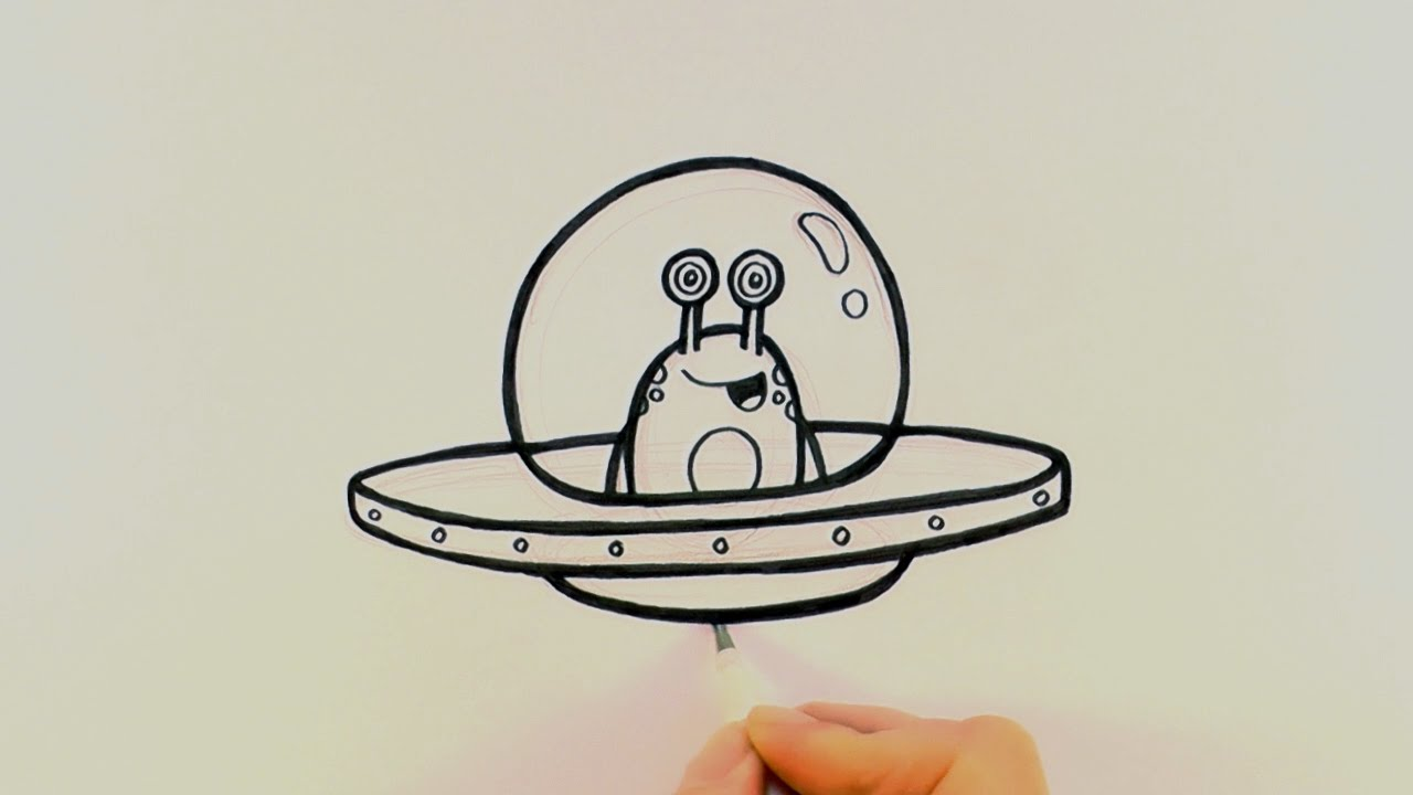How To Draw A Cartoon Alien In Spaceship