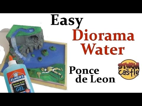 Make diorama water including a waterfall - Ponce de Leon and the Fountain of Youth