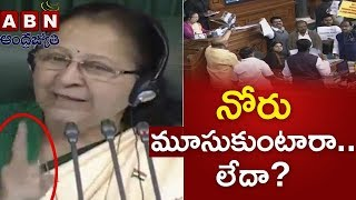 Lok Sabha Speaker Sumitra Mahajan Warns TDP MPs   Parliament Session   ABN Telugu