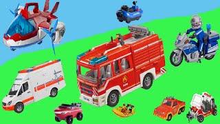 Einsatzfahrzeuge Polizei und Rettungswagen