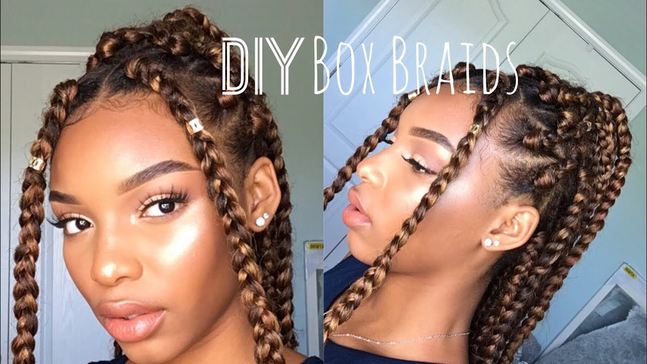 DIY Box Braids How To Do Box Braids On Yourself Natural - Diy natural hairstyle
