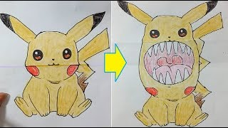 Funny drawing tricks for kids and adults, toothy pictures - Funny Pikachu drawings