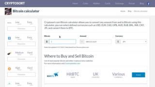 Bitcoin calculator - Convert BTC to USD, EUR, GPB and more.