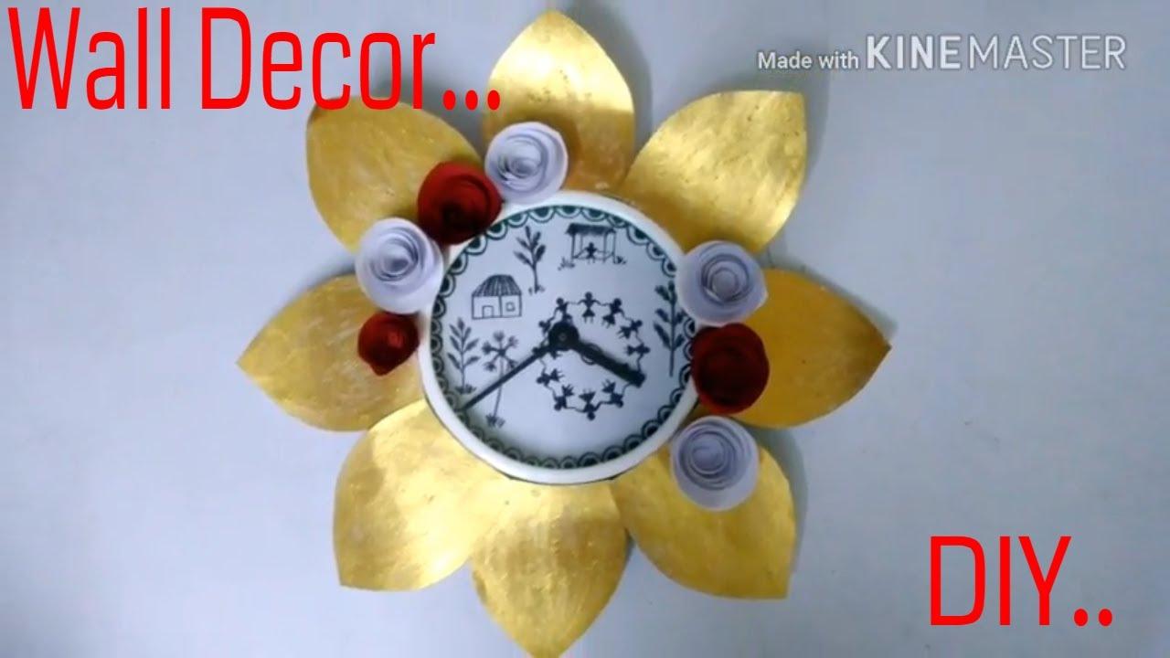 Wall Hanging clock .. | DIY | DIY Wall Clock Decor | DIY Floral ...