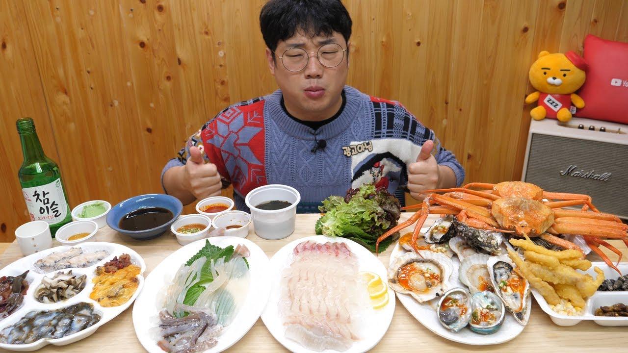 오징어,생굴,멍게등 해산물 먹방 오랜만에 같이한잔 RAW SEAFOOD EATING SHOW