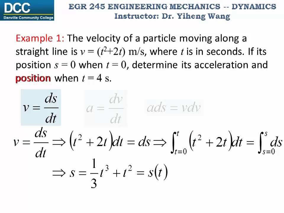 Dynamics Lecture 03 Particle Kinematics Rectilinear