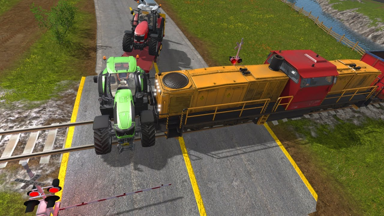 We Play by Train - Rail transport and an crash at a railroad crossing   Farm Simulation