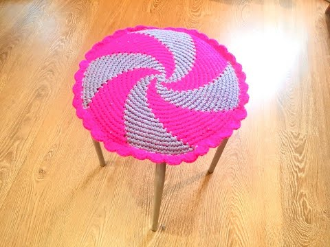 Сидушка на круглую табуретку крючком/Crochet Round Stool Seat