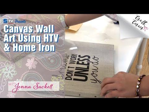 Canvas wall art using htv & home iron craft corner