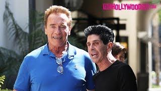 Arnold Schwarzenegger Greets Fans After His Haircut At Giuseppe Franco Salon 6.9.17