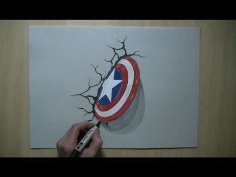 Captain America Shield Drawing 3d