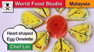 Heart Shaped Egg Omelette Rolls - Chef Lin - World Food Studio