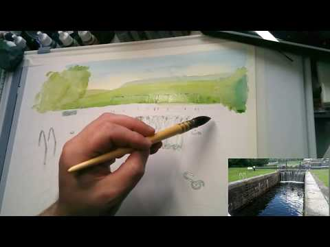 Canal Lock - Full watercolour painting
