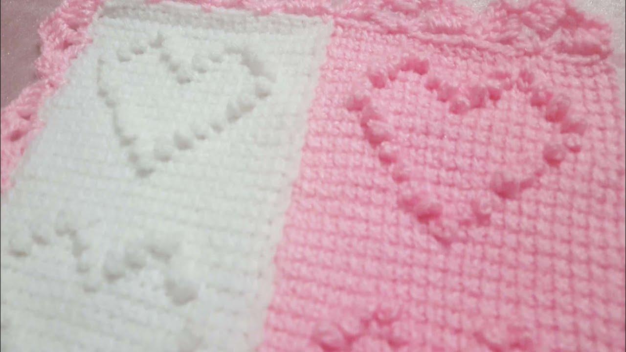 Pıtırcık örgü kalp bebek battaniyesi