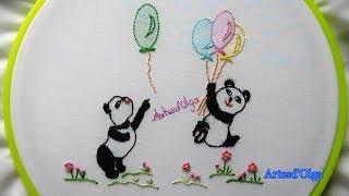 Bordado à mão para Bebê: Pandas com balões
