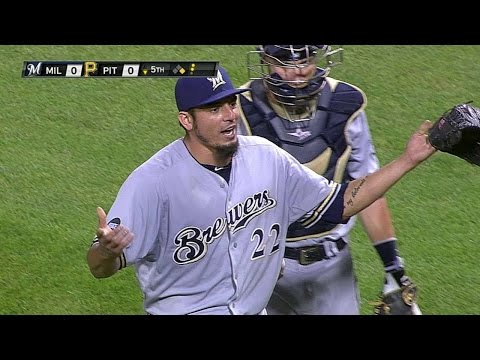 MIL@PIT: Garza tossed after hitting McCutchen twice